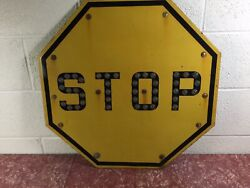 Vintage 24andrdquo Stop Traffic Street Sign Yellow With Glass Reflector Marbles Cat Eye