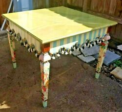 Mackenzie-childs Retired Signed Faux Marble Stripe Fringe Square Accent Table