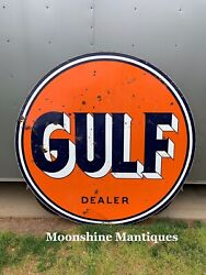 Vintage 1950andrsquos Gulf Dealer Service Station 6 Ft. Porcelain Sign - Gas And Oil