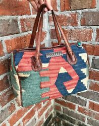 Vintage Wool Kilim Tapestry and Leather Purse with Sterling Navajo Accessories