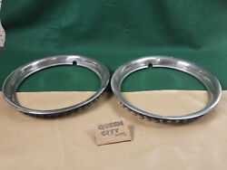 Pair 50s 60s Chevy/ford/dodge Accessory Stainless Trim Rings 15 Wheels