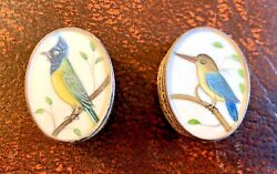 2 Antique Indian Solid Sterling Silver Pill Box Miniature Painted Bird Painting