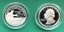 2021 S 1 Silver And 1 Clad Crossing The Delaware Proof Quarters In Capsule