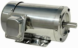 3 Hp Electric Motor 213tc 3 Phase Stainless Steel Washdown With Base 1200 Rpm