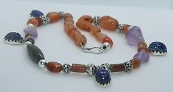 Rare Ancient Egyptian Antique Royal Silver Agate Queen Necklace New Knigdom