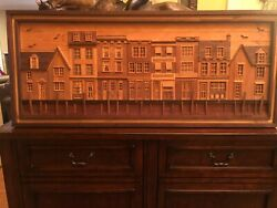Large Vintage Houses Town Sea Birds Lath Folk Art Picture Wood Inlay Sign Jnoto