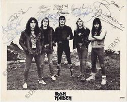 Iron Maiden 8x10 Photo Fully Signed Bruce Dickinson Dave Murray Harris Autograph