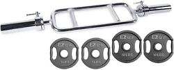 Ader 2and039and039 Olympic Tricep Bar 34and039and039 W/ Collars And Ader Gray Ez Grip Plates30lb Set