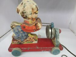 Vintage The Gong Bell Co Wooden Puppy Dog  Pull Toy Works M-353