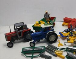 Britains 1970and039s Big Lot Diecast Farm Implements Tractors Ford Massey Ferguson