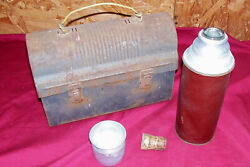 Antique Steel Lunch Box Pail Cork Sta-rite Thermos Bottle Old Vintage Collector