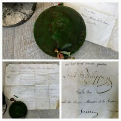 Seal/stamp Of Wax Royal Louis Philippe 1830 On Parchment Signed/autograph