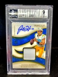 2020 Panini Immacualte Justin Herbert Bgs 9/10 Rpa Auto Patch Jersey Rc /99 🔥