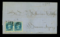 Chile 1869 Columbus 10c Blue Pair Sc 18x2 On Cover From Valp. To Argentina Bu.a