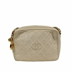 Cream 1991-1994 Vintage Cc Quilted Camera Bag Crossbody Bag 6 X 3 X 9