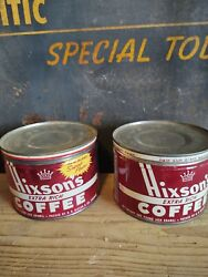 Vintage Pair Of Hixson's Tin Coffee Can Cans Advertising Lid Lids
