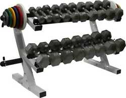 Ader Hex Dumbbell And Olympic Plate Set W/rack Plus Adapter Sleeves And Collars Pair