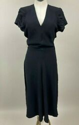 Vintage Womanand039s 1940s Crepe Black Dress Ex Condition Pinup Lbd 40s