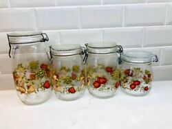 Arc Of France Vintage Wire Bale Glass Canisters