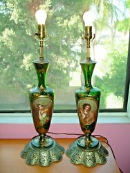 Pair 19th Moser Bohemian Green-gold Glass Portrait Lamps