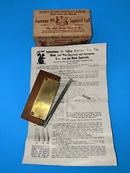 Vintage Herters No. 99 Squirrel Call In Box With Instructions B09