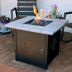 Sunnydaze Square Outdoor Propane Gas Fire Pit Table W/ Cover And Lava Rocks - 30