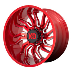22 Inch Red Wheels Rims Lifted Chevy 2500 3500 Dodge Ram 8 Lug Hummer H2 22x10