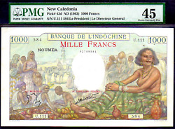 New Caledonia P43d 1963nd Pmg 45 Very Rare World Paper Money Pirate Gold Coins