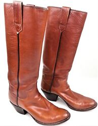 Paul Bond Womens Cowboy Boots 1984 Italian Light Brown Veal Leather Stovepipe