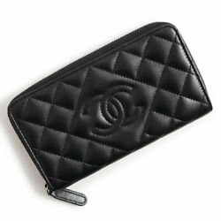 Matelasse Lambskin Coco Mark Round Fasteners Purse Black Women And039s With