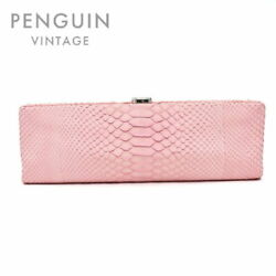 Exotic Leather Coco Mark Clutch Bag 15th Razor Pink P1049 Secondhand