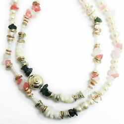 Coco Mark Pearl Color Stone Long Necklace Women And039s Pink A95918 With Box