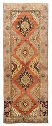 4.6x12.2 Ft Antique Hand-knotted Anatolian Oushak Runner. One Of A Kind Wool Rug