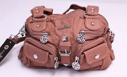 AngelKiss Women#x27;s Washed Pleather Shoulder Strap Hobo Purse DG4 Pink Medium NWT $24.99