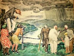 John Steuart Curry Style Watercolor Wpa Watching Incoming Storm Museum Quality