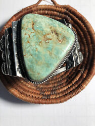 Cerrillos Turquoise And Sterling Silver Bracelet By Navajo Artist Kirk Smith