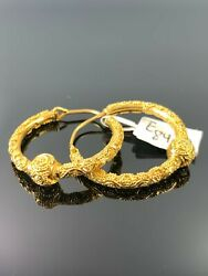 22k Earring Solid Gold Ladies Jewelry Hoop Design With Beads Insert E8401