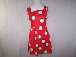 Disney Mini Dress Minnie Mouse Red White Polka Dots Open Back Bow Juniors Small