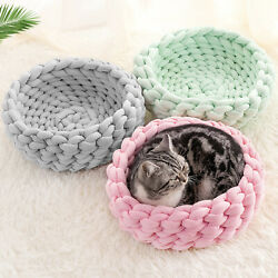Handmade Knitted Dog Cat Bed Puppy Cotton Soft Breathable Pets House Mat Basket