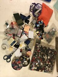 Lot 2.9 Lbs Antique Vintage Buttons And Thread Patches Sewing Collectible Assorted