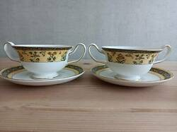 Wedgewood India Double Handle Soup Cup And Saucer Set Of 2 Bone China Tableware