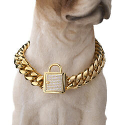 14mm Strong Dog Collar 316l Stainless Steel Cz Diamond Lock Curb Chain 18k Gold