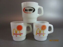 Vintage 3 Fire King Coffee Mug Advertising 2 Mcdonald A And W Good Morning Canada