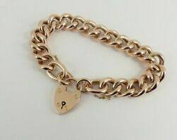 9ct Gold Bracelet Rose With Padlock Antique Victorian 8.75'' 28grams Gift Box