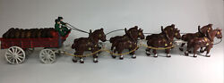 Antique Budweiser Cast Iron Beer Wagon And Clydesdale Horses, Kegs, Dog, Driver