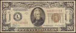 1934a 20 Dollar Bill Wwii Hawaii Brown Seal Note Currency Old Paper Money