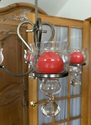 Vintage Hand Made Wrought Iron Candelabra Chandelier Glass Candle Holders Mint