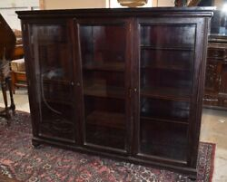 Antique Solid Mahogany Large Bookcase Display Cabinet Cupboard