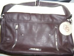BCBGeneration Brown Faux Leather Flap Large Messenger Purse Crossbody Bag NWT $27.99