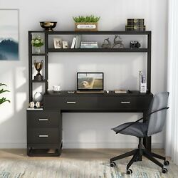 Stylish Computer Desk Functional Table Workstation With 4 Drawers And Open Shelves